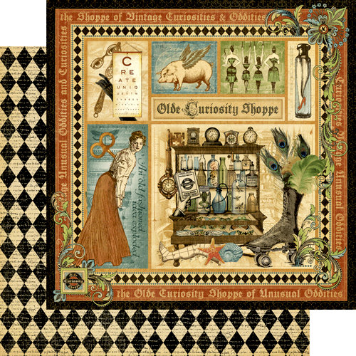 Graphic 45 - Olde Curiosity Shoppe Collection - 12 x 12 Double Sided Paper - Olde Curiosity Shoppe