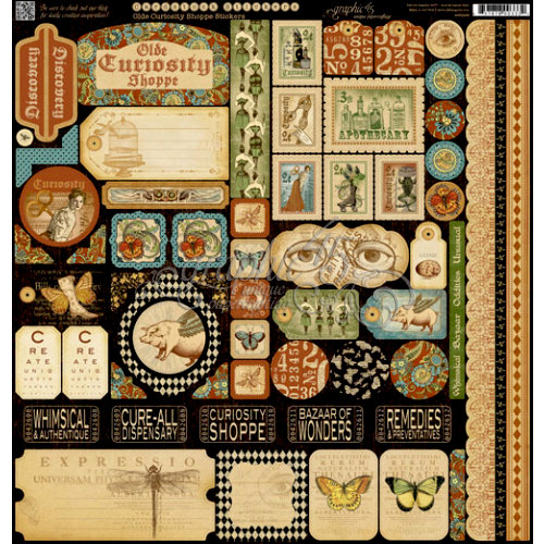 Graphic 45 - Olde Curiosity Shoppe Collection - 12 x 12 Cardstock Stickers