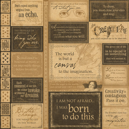 Graphic 45 - Kraft Reflections Collection - 12 x 12 Kraft Paper - Quote...Unquote
