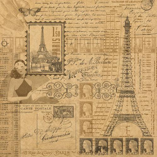 Graphic 45 - Kraft Reflections Collection - 12 x 12 Kraft Paper - Glimpse of Paris
