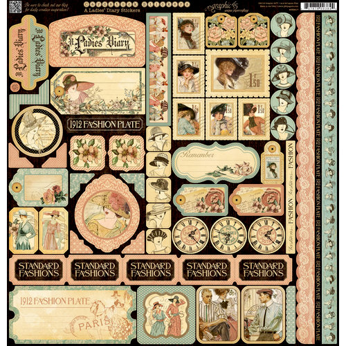 Graphic 45 - Ladies' Diary Collection - 12 x 12 Cardstock Stickers