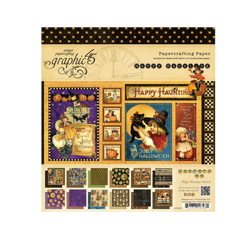 Graphic 45 - Happy Haunting Collection - Halloween - 8 x 8 Paper Pad