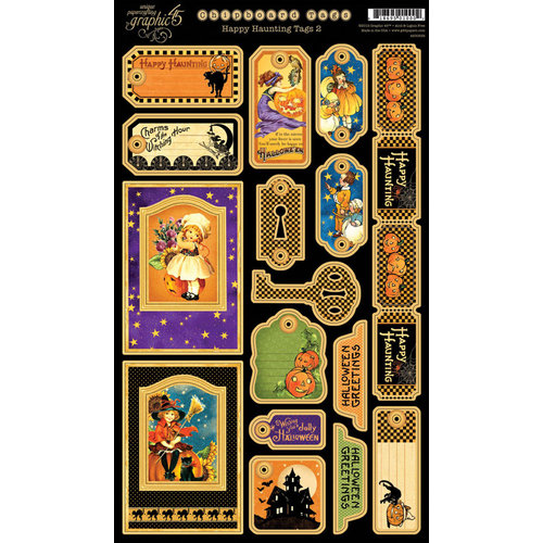 Graphic 45 - Happy Haunting Collection - Halloween - Die Cut Chipboard Tags - Two