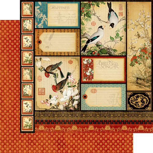 Graphic 45 - Bird Song Collection - 12 x 12 Double Sided Paper - Tranquility
