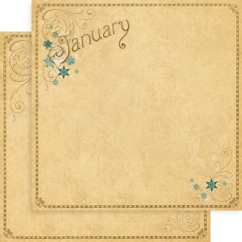 Graphic 45 - Place in Time Collection - 12 x 12 Double Sided Paper - January Foundation