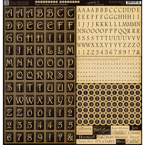 Graphic 45 - Place in Time Collection - 12 x 12 Cardstock Stickers - Alphabet