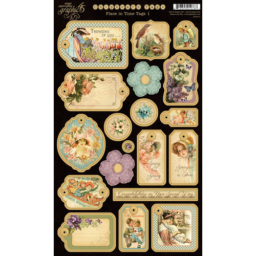 Graphic 45 - Place in Time Collection - Die Cut Chipboard Tags - One
