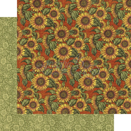 Graphic 45 - French Country Collection - 12 x 12 Double Sided Paper - Sunflower