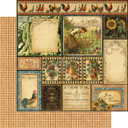 Graphic 45 - French Country Collection - 12 x 12 Double Sided Paper - Bon Appetit