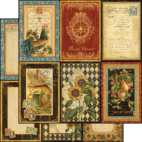 Graphic 45 - French Country Collection - 12 x 12 Double Sided Paper - A La Carte
