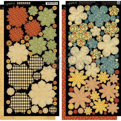 Graphic 45 - French Country Collection - Cardstock Flowers