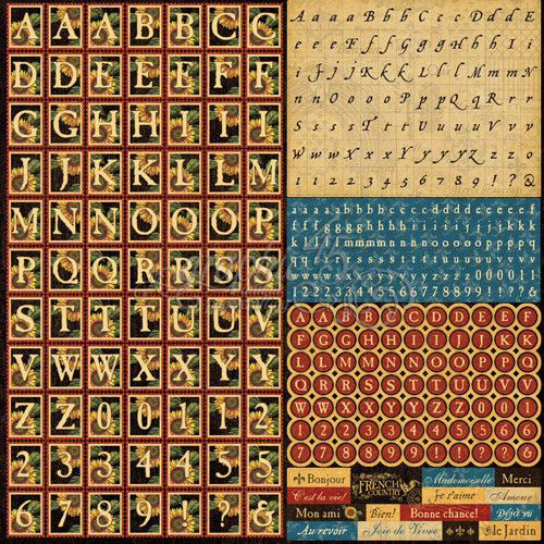 Graphic 45 - French Country Collection - 12 x 12 Cardstock Alphabet Stickers
