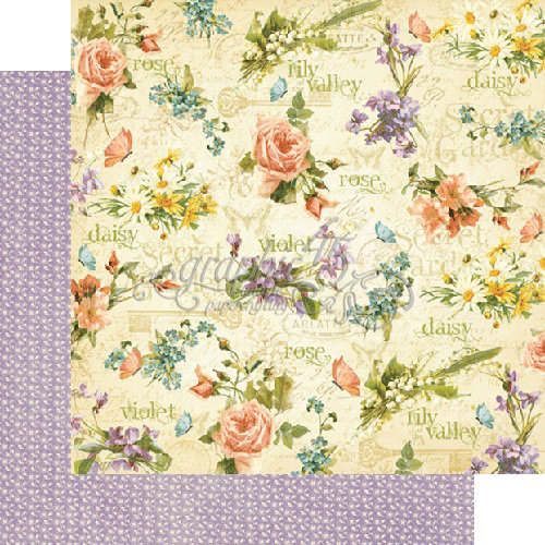 Graphic 45 - Secret Garden Collection - 12 x 12 Double Sided Paper - Beautiful Blooms