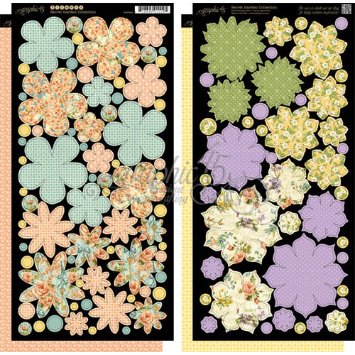 Graphic 45 - Secret Garden Collection - Cardstock Flowers