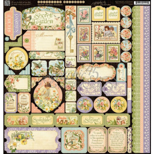 Graphic 45 - Secret Garden Collection - 12 x 12 Cardstock Stickers