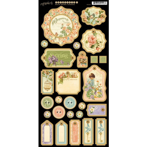 Graphic 45 - Secret Garden Collection - Die Cut Chipboard Tags - One