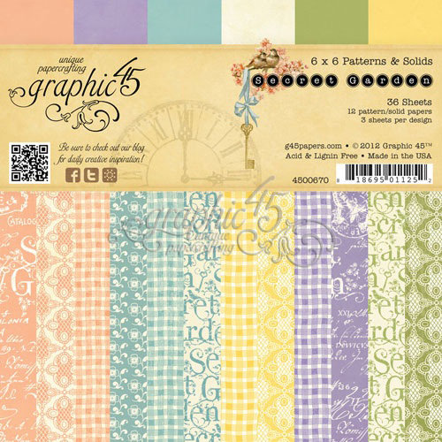 Graphic 45 - Secret Garden Collection - 6 x 6 Patterns and Solids Paper Pad