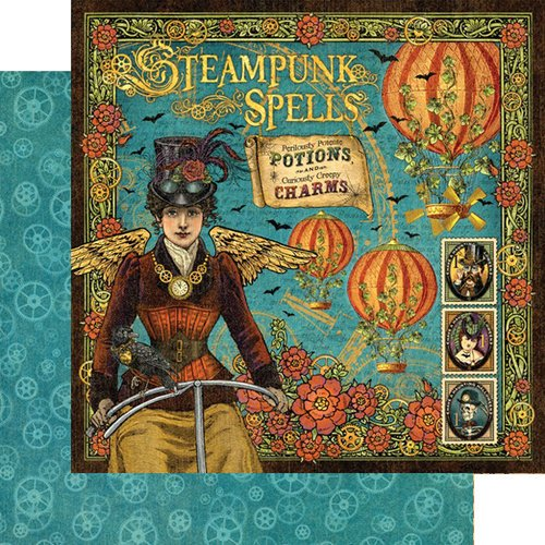 Graphic 45 - Steampunk Spells Collection - 12 x 12 Double Sided Paper - Steampunk Spells
