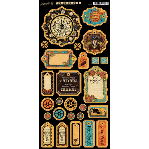 Graphic 45 - Steampunk Spells Collection - Chipboard Tags - One