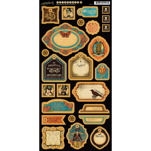 Graphic 45 - Steampunk Spells Collection - Chipboard Tags - Two