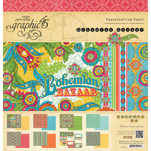 Graphic 45 - Bohemian Bazaar Collection - 12 x 12 Paper Pad