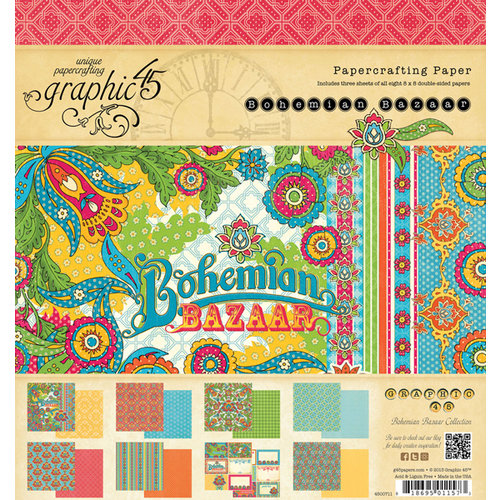 Graphic 45 - Bohemian Bazaar Collection - 8 x 8 Paper Pad