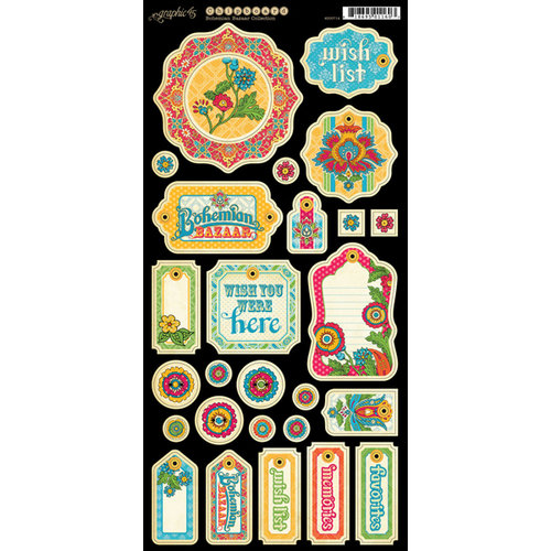 Graphic 45 - Bohemian Bazaar Collection - Chipboard Tags - One