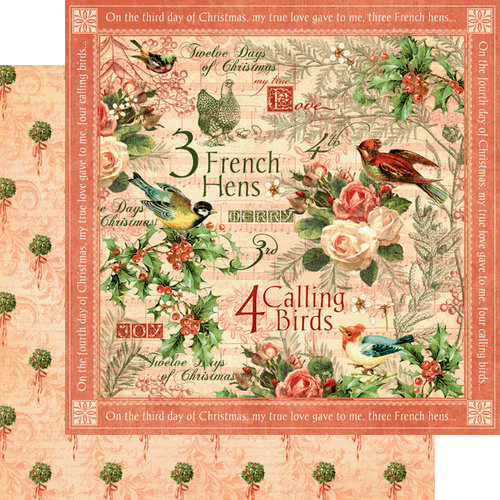 Graphic 45 - Twelve Days of Christmas Collection - 12 x 12 Double Sided Paper - Calling Birds