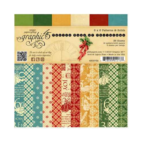 Graphic 45 - Twelve Days of Christmas Collection - 6 x 6 Patterns and Solids Pad