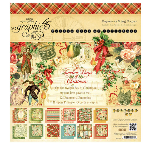 Graphic 45 - Twelve Days of Christmas Collection - 8 x 8 Paper Pad