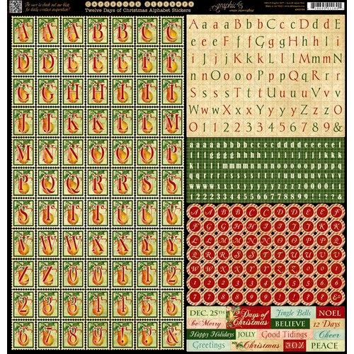 Graphic 45 - Twelve Days of Christmas Collection - 12 x 12 Cardstock Stickers - Alphabet