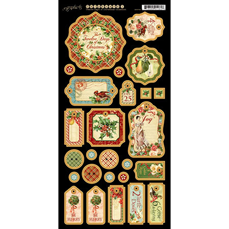Graphic 45 - Twelve Days of Christmas Collection - Die Cut Chipboard Tags - One