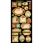 Graphic 45 - Twelve Days of Christmas Collection - Die Cut Chipboard Tags - Two