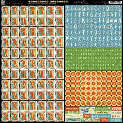 Graphic 45 - Mother Goose Collection - 12 x 12 Cardstock Stickers - Alphabet