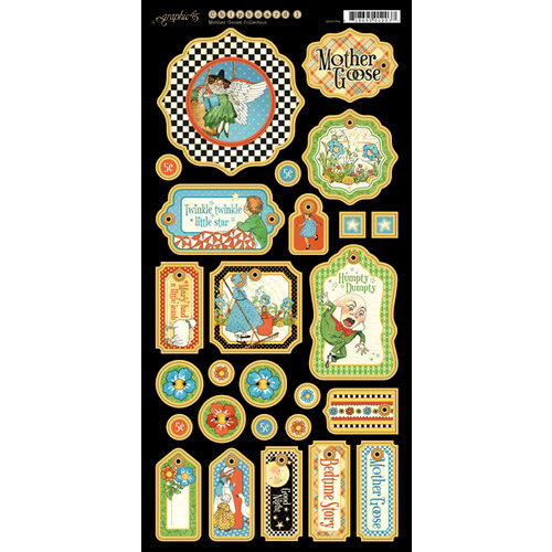 Graphic 45 - Mother Goose Collection - Die Cut Chipboard Tags - One