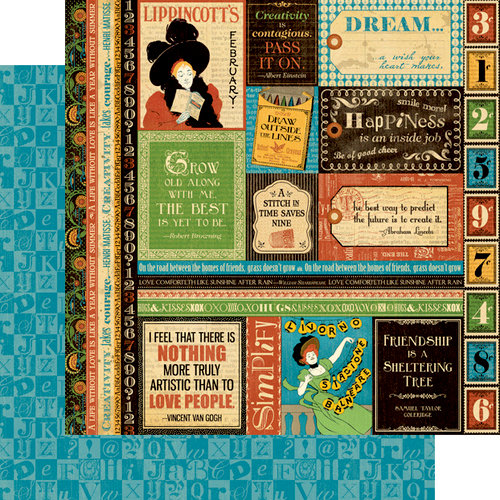 Graphic 45 - Typography Collection - 12 x 12 Double Sided Paper - Dream