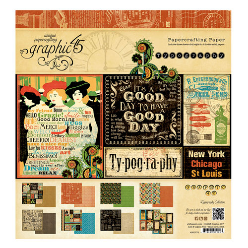 Graphic 45 - Typography Collection - 8 x 8 Paper Pad