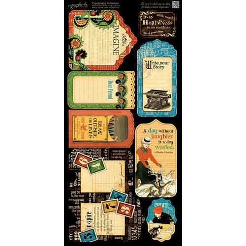 Graphic 45 - Typography Collection - Cardstock Tags and Pockets