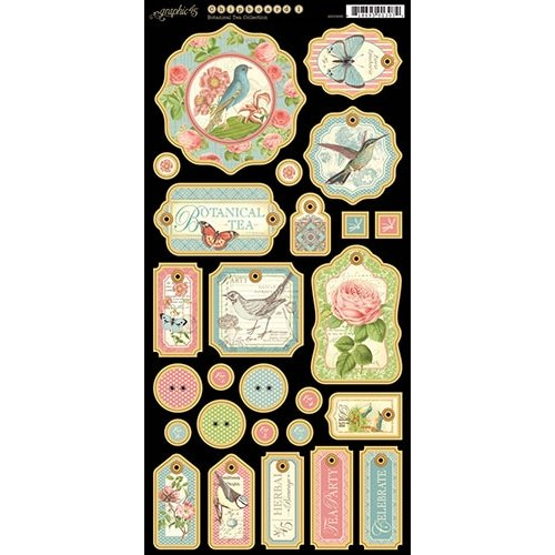 Graphic 45 - Botanical Tea Collection - Die Cut Chipboard Tags - One