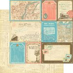 Graphic 45 - Come Away With Me Collection - 12 x 12 Double Sided Paper - Globetrotter