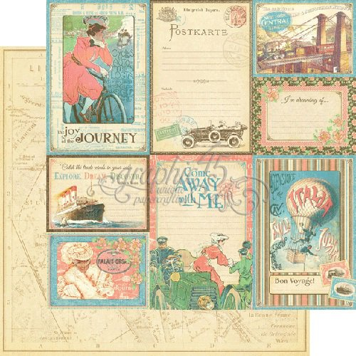 Graphic 45 - Come Away With Me Collection - 12 x 12 Double Sided Paper - Vintage Voyage