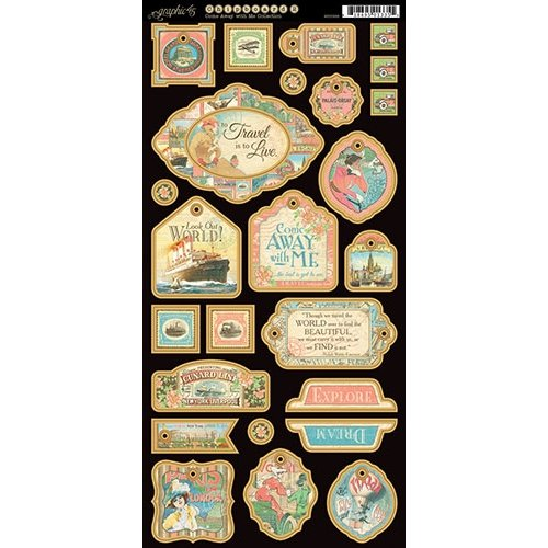 Graphic 45 - Come Away With Me Collection - Die Cut Chipboard Tags - One