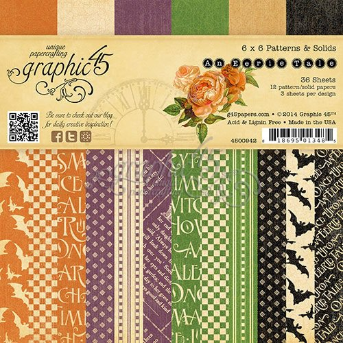 Graphic 45 - An Eerie Tale Collection - Halloween - 6 x 6 Patterns and Solids Paper Pad
