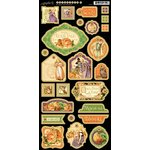 Graphic 45 - An Eerie Tale Collection - Halloween - Die Cut Chipboard Tags - One
