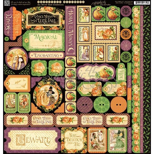 Graphic 45 - An Eerie Tale Collection - Halloween - 12 x 12 Cardstock Stickers