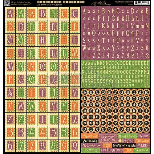 Graphic 45 - An Eerie Tale Collection - Halloween - 12 x 12 Cardstock Stickers - Alphabet