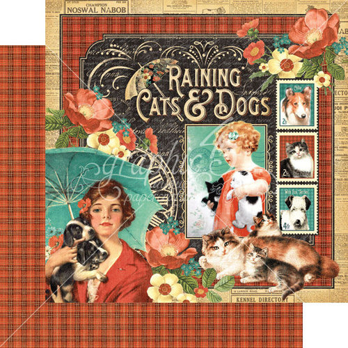 Graphic 45 - Raining Cats and Dogs Collection - 12 x 12 Double Sided Paper - Raining Cats and Dogs
