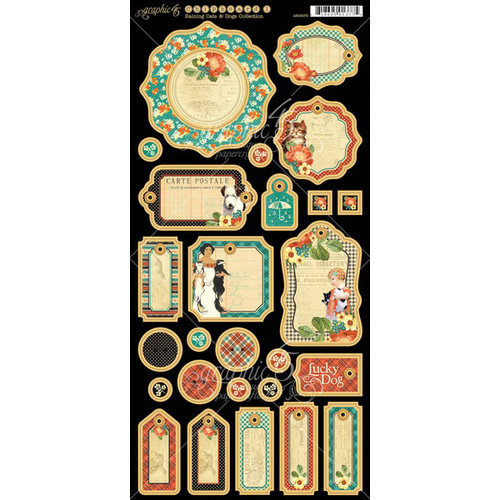 Graphic 45 - Raining Cats and Dogs Collection - Die Cut Chipboard Tags - Two