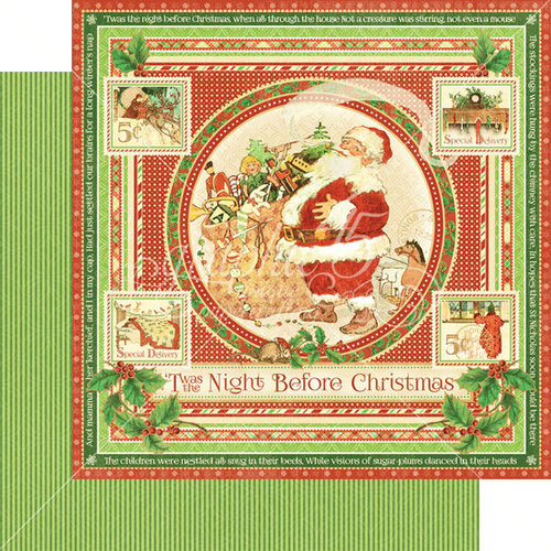Graphic 45 - Twas the Night Before Christmas Collection - 12 x 12 Double Sided Paper - Twas the Night Before Christmas