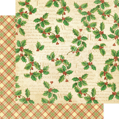 Graphic 45 - Twas the Night Before Christmas Collection - 12 x 12 Double Sided Paper - Happy Holly-Day